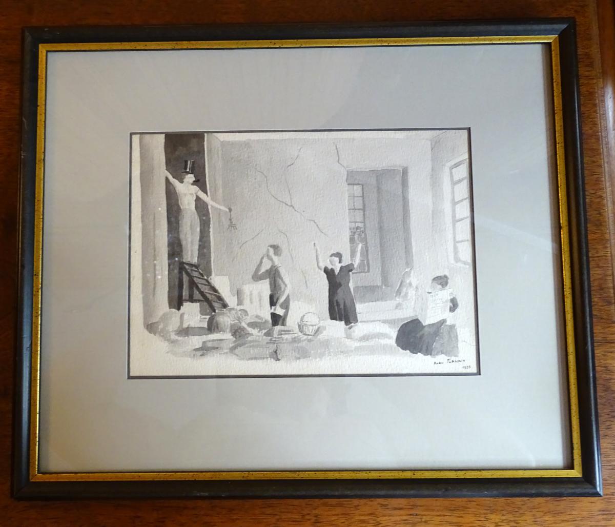 Aquarelle En Grisaille André Flandrin 1937