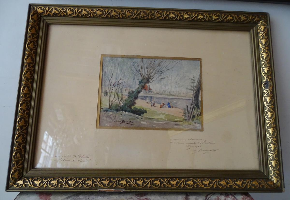 Aquarelle Paysage Animé Louis Bonneton 1901