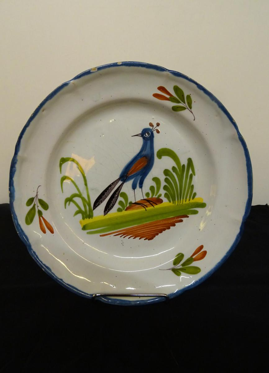 Plate With A  Bird In Earthenware 19th