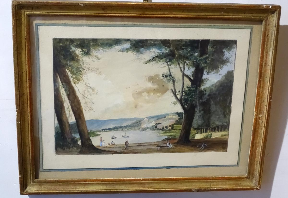 Watercolor Bord Animated Lake Side  French School Late 18th
