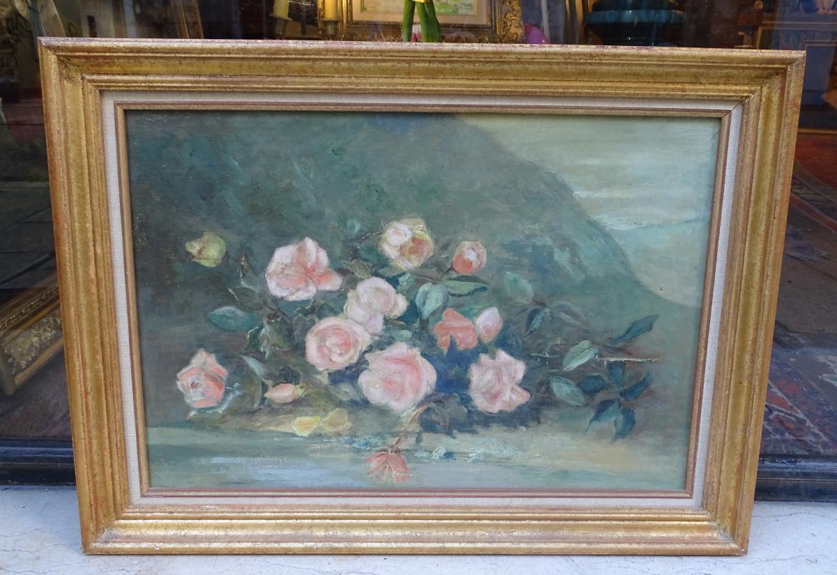 Jeté De Roses Huile Sur Toile Fin 19ème
