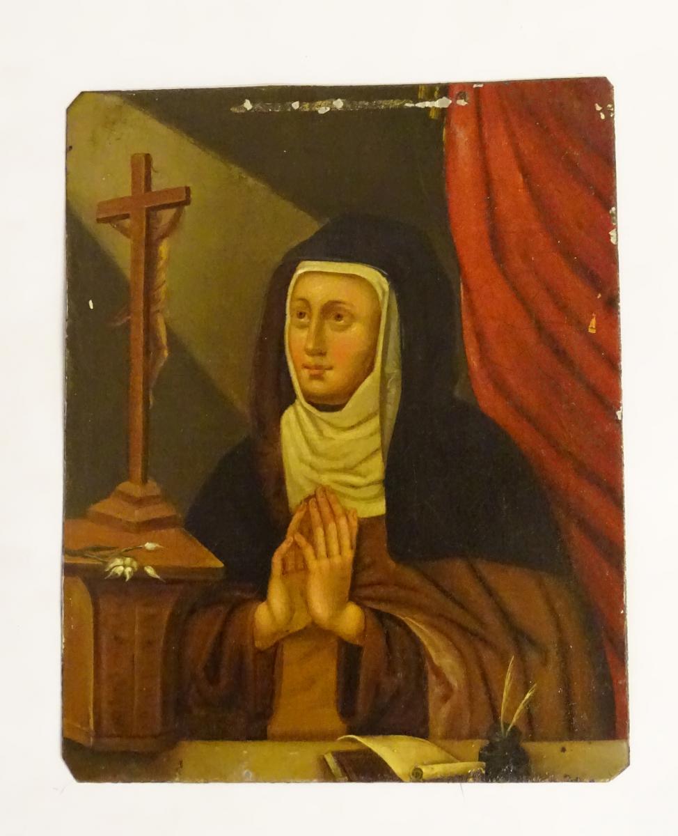 Sainte en prière, Huile Sur Métal Epoque 18ème