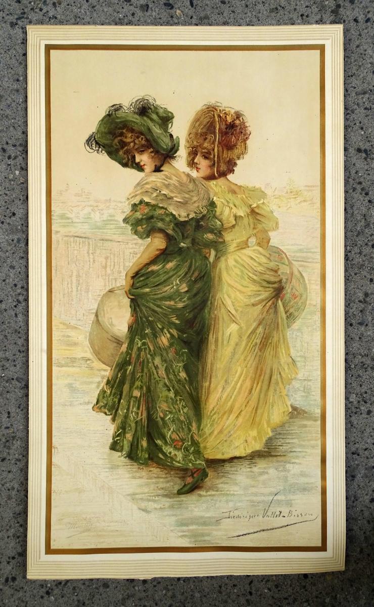 Lithograph By Frédérique Vallet-bisson Elegant1900