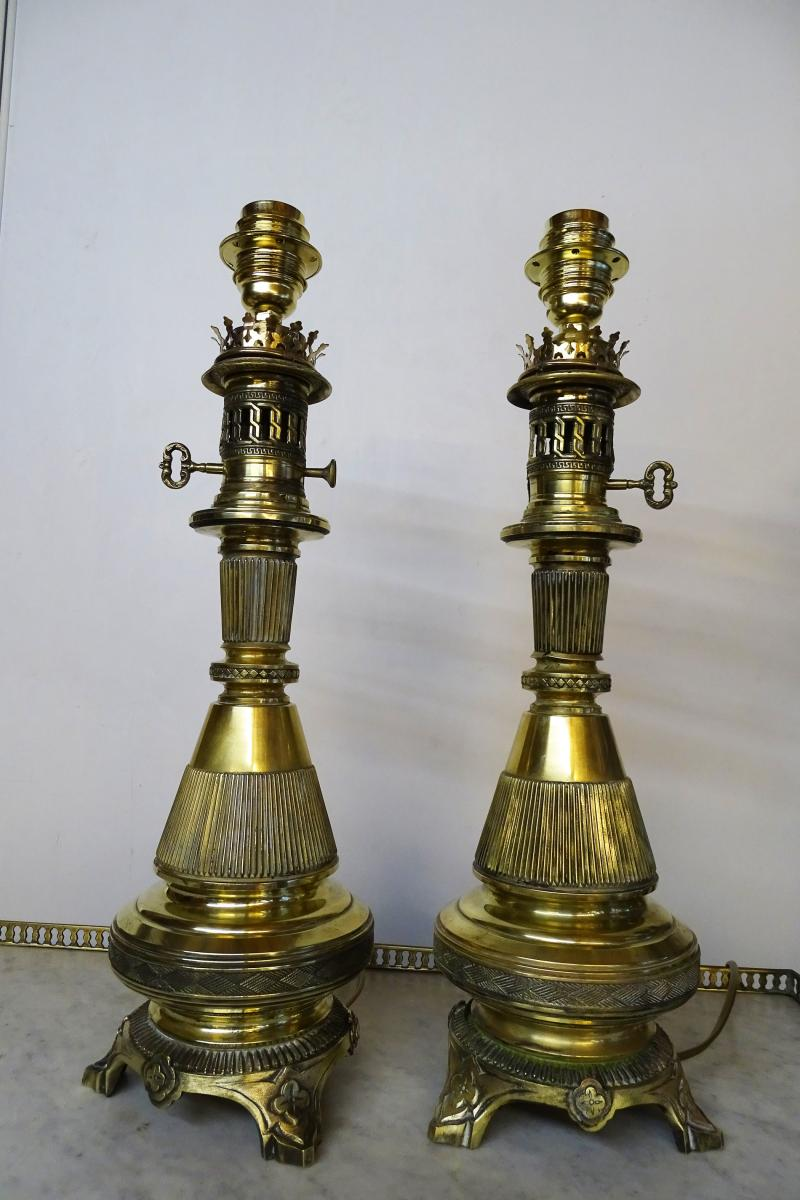 Pair Of Lamps In Brass 19th