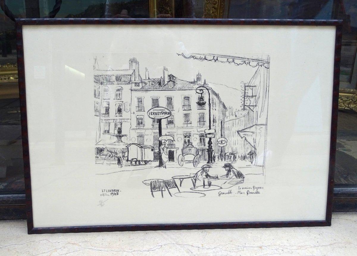 Jules Flandrin Lithographie  La Maison Gagnon, 1925 Grenoble