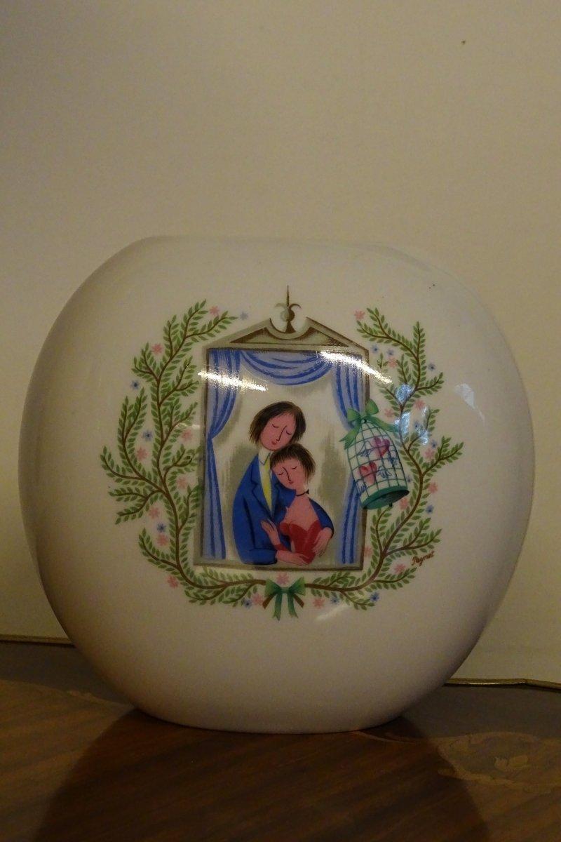 Vase En Porcelaine De Rosenthal Amoureux De Peynet 20ème