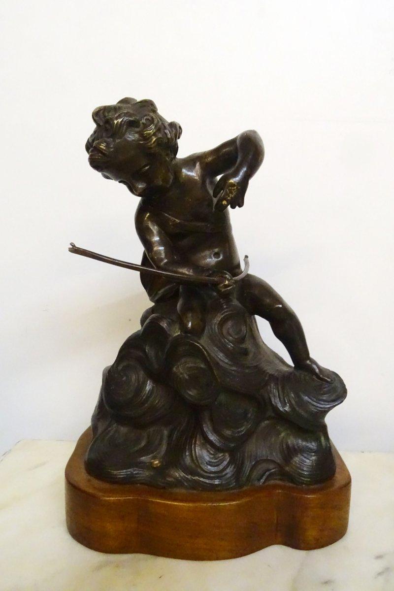 Neptune Enfant Sujet En Bronze 18ème