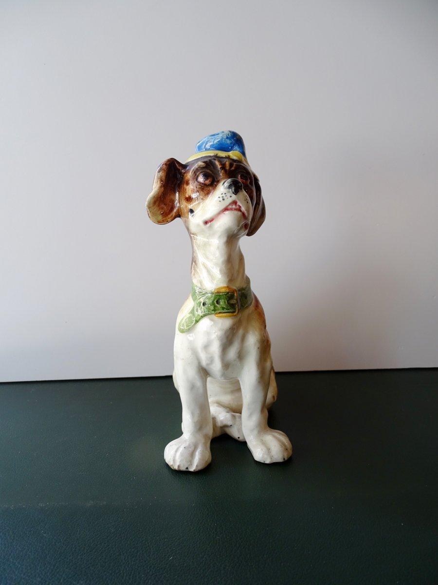 Petit Chien Au Chapeau En Faïence Epoque 1900