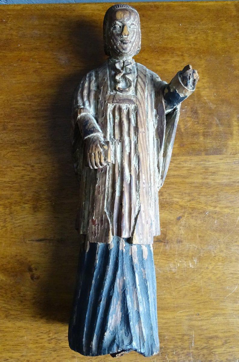Curé d'Ars Fir Statue Early 20th