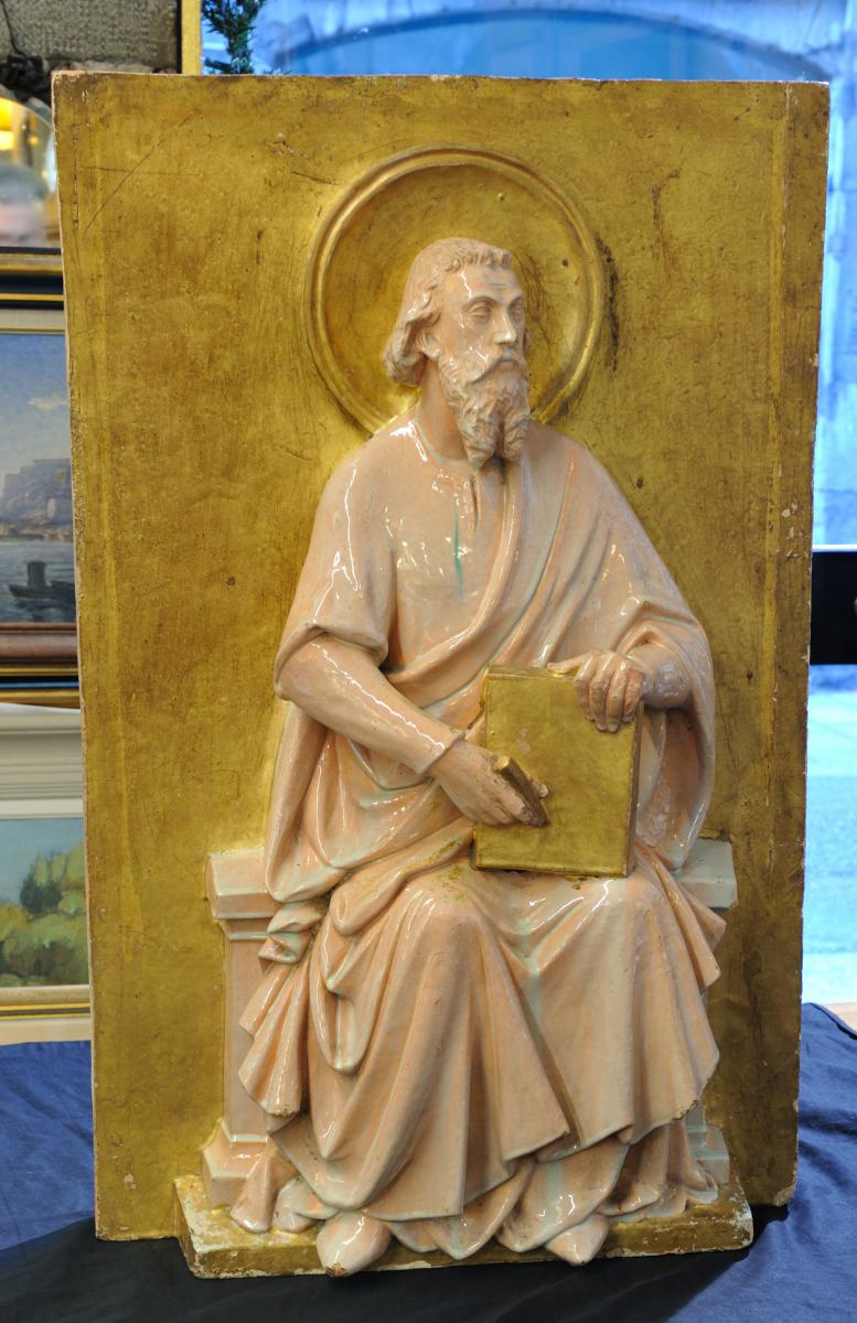 Plaque En Terre Cuite Figurant Un évangéliste Début 19ème
