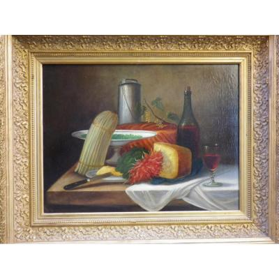 Oil On Canvas Still Life Bunch Of Radishes And Asparagus