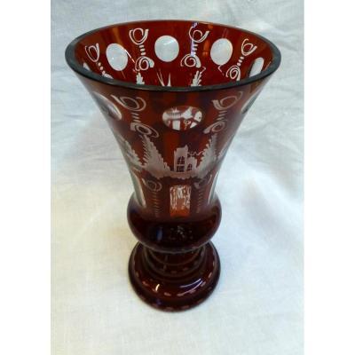 Vase En Cristal De Bohême 20ème
