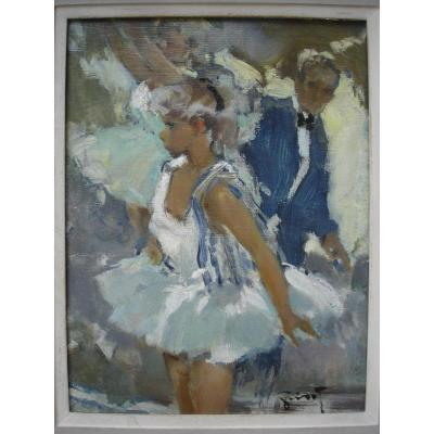 Young Dancer Oil On Panel Signed Grisot