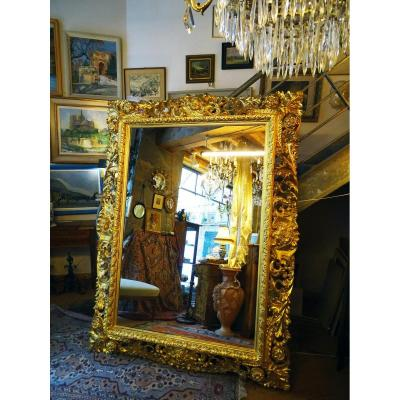 Italian Baroque Mirror In Carved Gilt Wood 19th