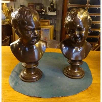 Pair Of Bronze Based On Houdon 2nd Half Of 19th
