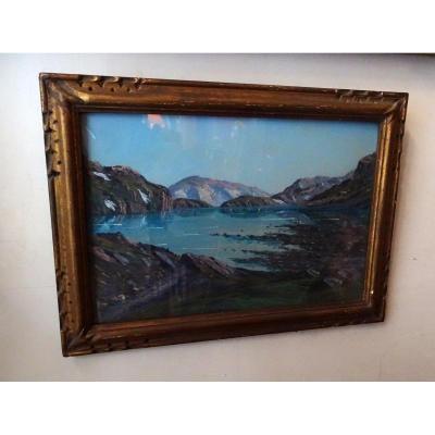 Pastel From J. Giroud Lake Of The Mountain 1926