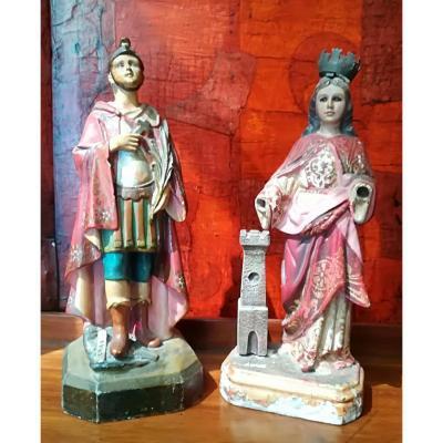 Paire De Statues En Bois Martyrs 19ème