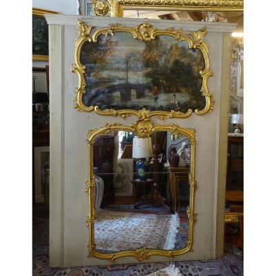 Trumeau En Bois Peint Et Doré Louis XV Epoque 18ème