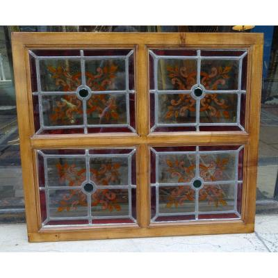 4 Small Stained Glass Late 19th