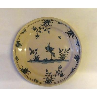 Plate With A Bird In Earthenware Dauphiné Late 18th