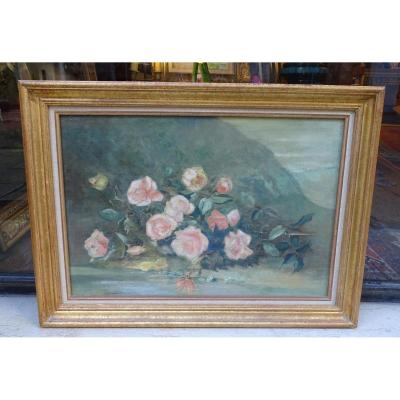 Throw Of  Roses Oil On Canvas Late 19th