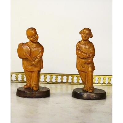 Pair Of Wooden Characters China Late 19th