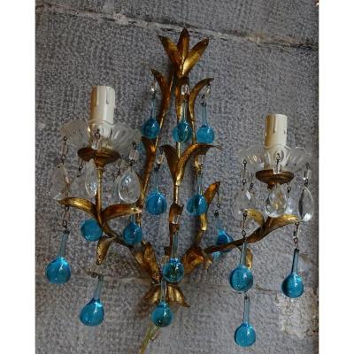 Wall Lights With 2 Lights Blue Pearls 20th