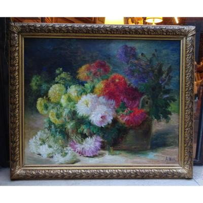 Oil On Canvas Chrysanthemums A. Wolf Late 19th