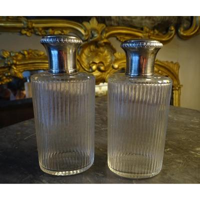 Pair Of Crystal And Silver Toilet Flasks 1900