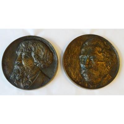 Paire De Médaillons En Bronze Milieu 20ème