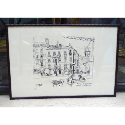 Jules Flandrin Lithography La Maison Gagnon, 1925 Grenoble