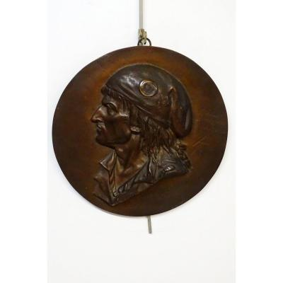 Medallion In Bronze Marat Early 19th