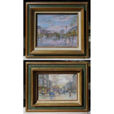 Pair Of Gouaches Views Of Paris By Léon Godinnet 20th