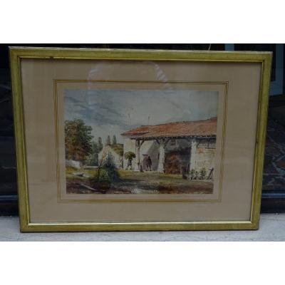 Aquarelle De Labat Paysage Ménauchon 1886