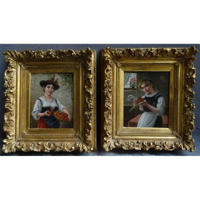 Pair Of Paintings Young Girls 19th