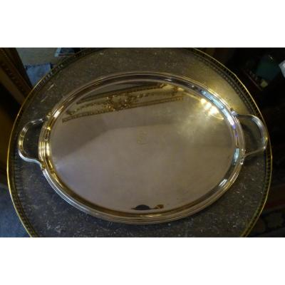 Oval Tray In Silver Metal 20th