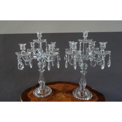 Large Pair Of Baccarat Style Glass Candlesticks