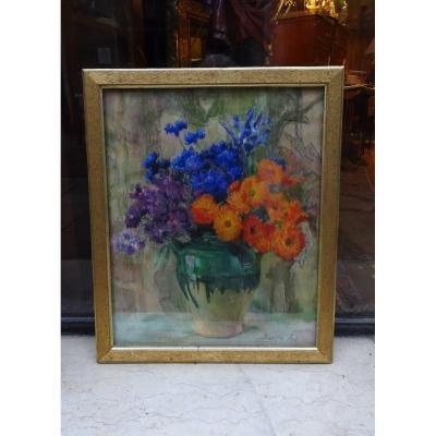 Pastel de Fleurs De Berthe Art Fin 19ème/début 20ème