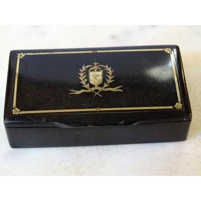 Horn And Gold Tobacco Box Late 19th