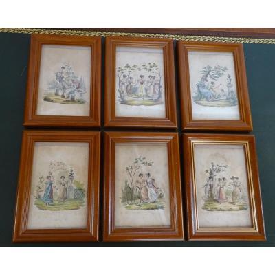 Série De 6 Petites Gravures Jeux de Jeunes Filles 1830