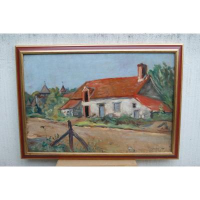 Lucien Mainssieux Oil On Panel Landscape Bonnus
