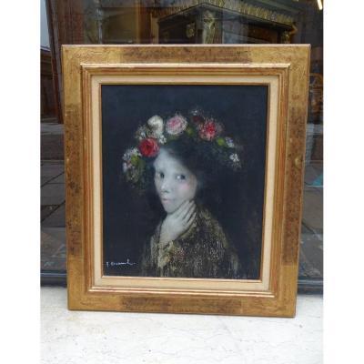 """Huile sur toile """" Flore""""20é"""