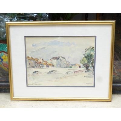Watercolor Pont Marius Gontard De Lorier 1950 Grenoble