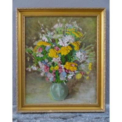 Oil On Canvas Bouquet Of Jacques Wolf 20th