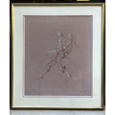 Lithographie De Léonor Fini Couple de Danseurs  Années 50