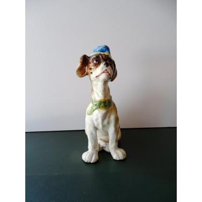 Small Dog With A Hat In Earthenware Period 1900