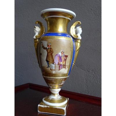 Vase En Porcelaine Vieux Paris 1er Empire
