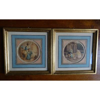 Pair Of Small 19th Lithographs