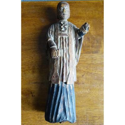 Curé d'Ars Statue En Sapin Début 20ème
