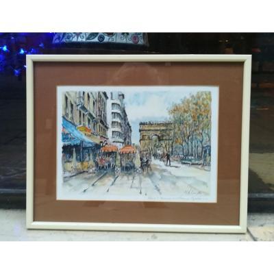 Avenue Des Champs Elysées Watercolor By Polo Cambier 1950s